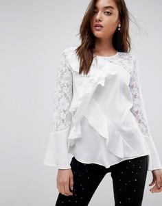 Блузка с кружевными рукавами и оборкой River Island - Белый