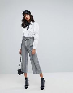 Широкие брюки с присборенной талией River Island - Черный
