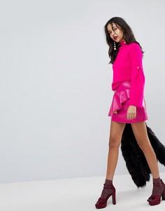 Виниловая мини-юбка с оборкой River Island - Розовый