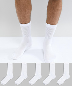 Набор из 5 пар белых носков в рубчик New Look - Белый