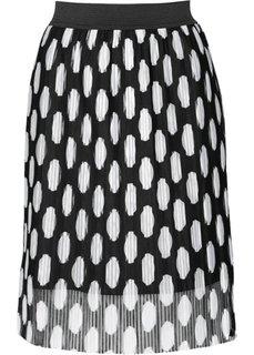 Юбка с принтом (черный/белый в горошек) Bonprix