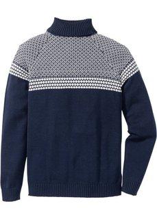 Пуловер Regular Fit с высоким воротом (темно-синий) Bonprix