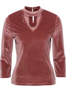 Бархатная футболка с чокером (кирпично-красный) Bonprix