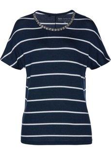 Полосатая футболка с бусинами (темно-синий/белый в полоску) Bonprix