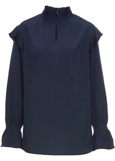 Блузка с воланами (темно-синий) Bonprix