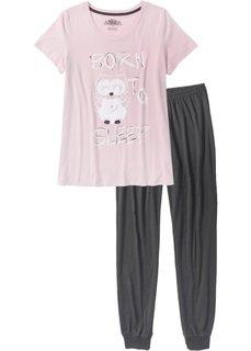 Пижама (шиферно-серый/розовый матовый с рисунком) Bonprix
