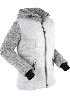 Стеганая куртка с трикотажной подкладкой и флисом (светло-серый меланж) Bonprix