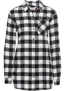 Длинная фланелевая рубашка (цвет белой шерсти/черный) Bonprix