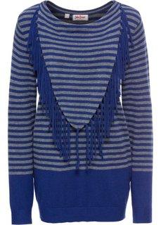 Пуловер с длинным рукавом (синий/серый в полоску) Bonprix