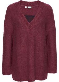 Вязаный пуловер с кружевом (бордовый/черный) Bonprix