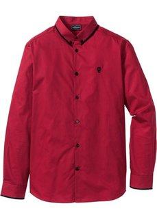 Рубашка Slim Fit с длинным рукавом (темно-красный) Bonprix