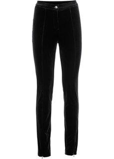 Трикотажные брюки с имитацией бархата (черный) Bonprix