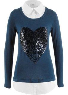 Пуловер в стиле два в одном (темно-синий) Bonprix