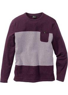 Пуловер Regular Fit с карманом (красная ягода) Bonprix