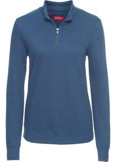 Свитшот на молнии, длинный рукав (синий джинсовый) Bonprix