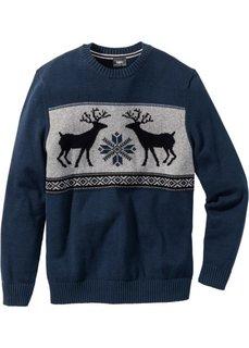 Пуловер Regular Fit с круглым вырезом (темно-синий) Bonprix