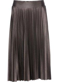 Плиссированная юбка с металлическим отливом (серо-коричневый металлик) Bonprix