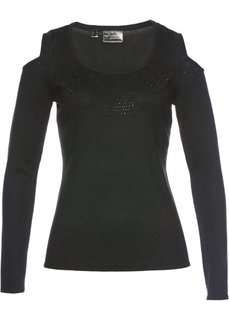 Пуловер с вырезами на плечах (черный) Bonprix