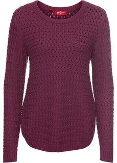 Пуловер с узором косичка и декоративными кнопками, длинный рукав (красная ягода) Bonprix