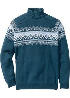 Пуловер с высоким воротником Regular Fit (серо-синий) Bonprix