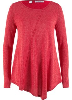 Пуловер с длинным рукавом и люрексом (красный/золотистый металлик) Bonprix