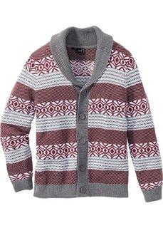 Кардиган Regular Fit (серый меланж/бордовый) Bonprix