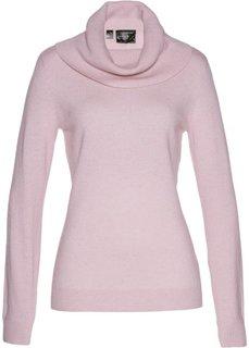 Пуловер с широким высоким воротом (розовый) Bonprix