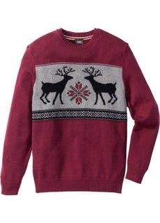 Пуловер Regular Fit с круглым вырезом (красная ягода) Bonprix