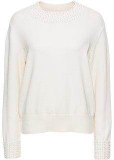 Вязаный пуловер с бусинами (кремовый) Bonprix