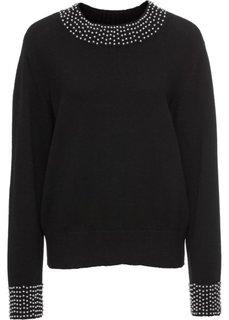Вязаный пуловер с бусинами (черный) Bonprix