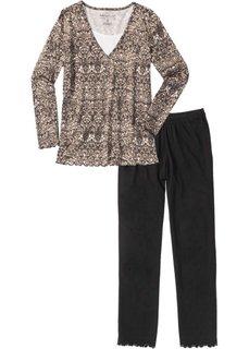 Пижама (черный/бурый с узором) Bonprix