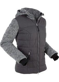 Стеганая куртка с трикотажной подкладкой и флисом (темно-серый) Bonprix