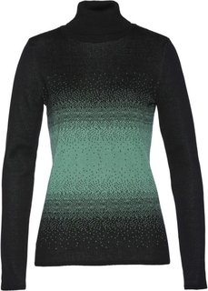 Пуловер с высоким воротом (черный/зеленый шалфей) Bonprix