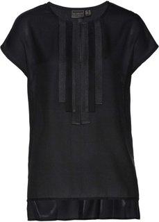 Блузка с декоративными лентами (черный) Bonprix