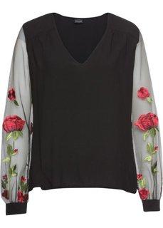 Блузка с вышивкой (черный) Bonprix