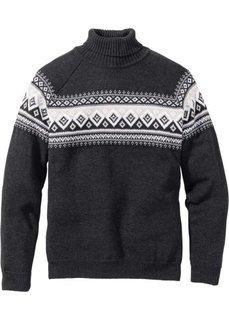 Пуловер с высоким воротником Regular Fit (антрацитовый меланж) Bonprix