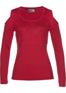 Пуловер с вырезами на плечах (темно-красный) Bonprix