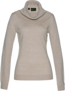 Пуловер с широким высоким воротом (меланжевый натуральный камень) Bonprix