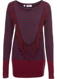 Пуловер с длинным рукавом (кленово-красный/синий в полоску) Bonprix