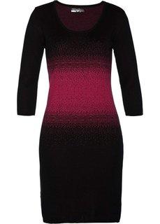 Вязаное платье (черный/красно-ягодный) Bonprix