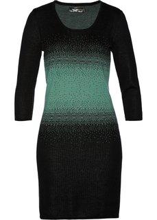 Вязаное платье (черный/зеленый шалфей) Bonprix