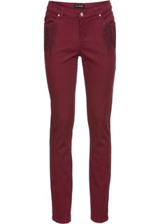 Стрейчевые брюки-дудочки со стразами (бордовый) Bonprix