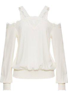 Блузка с кружевом и вырезами (кремовый) Bonprix