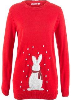 Пуловер с мотивом кролика (клубничный) Bonprix