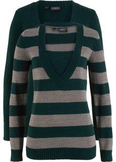 Пуловер с V-вырезом (2 шт.) (петролевый в полоску + петролевый) Bonprix