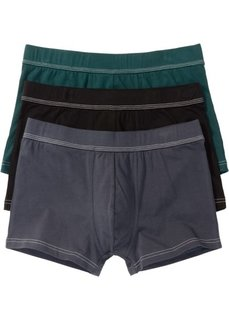 Трусы-боксеры (3 шт.) (ночная синь/насыщенный зеленый/черный) Bonprix