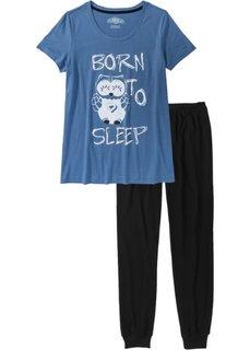 Пижама (черный/синий джинсовый с рисунком) Bonprix