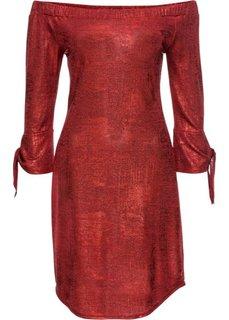 Трикотажное платье с металлическим отливом (красный) Bonprix