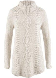 Пуловер-пончо с длинным рукавом (кремовый меланж) Bonprix