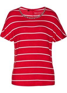 Полосатая футболка с бусинами (клубничный/белый в полоску) Bonprix